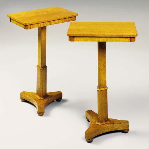 A PAIR OF WILLIAM IV BIRDS-EYE MAPLE PEDESTAL TABLES