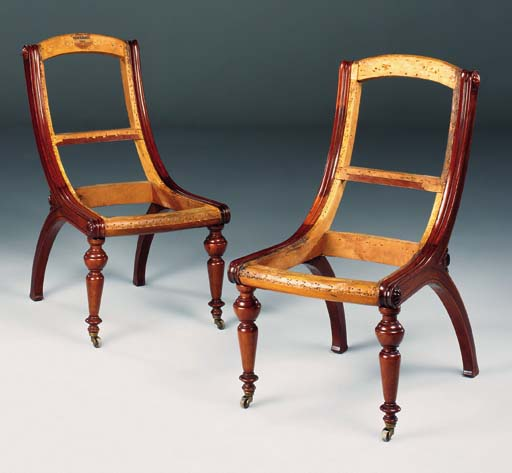 A PAIR OF SWEDISH WALNUT SIDE CHAIRS