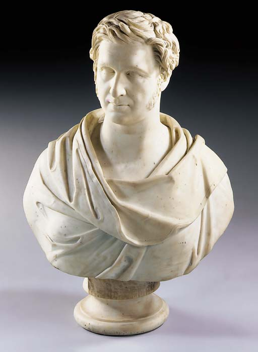 A CARVED MARBLE BUST OF A GENTLEMAN