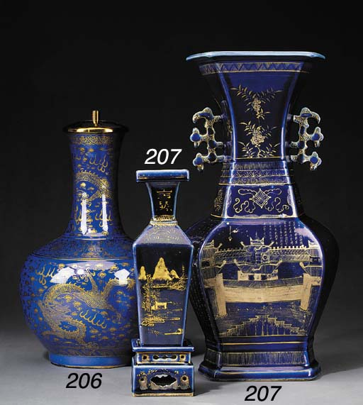 TWO CHINESE BLUE AND GILT VASE