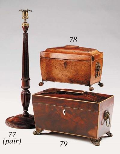 A pair of turned mahogany and