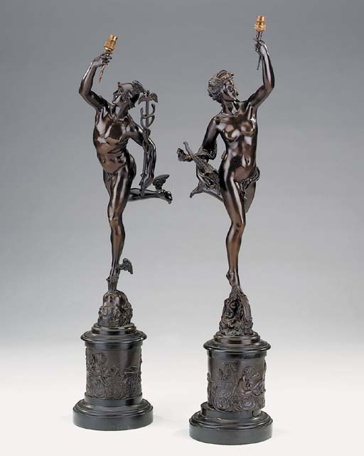 A pair of Continental bronze f