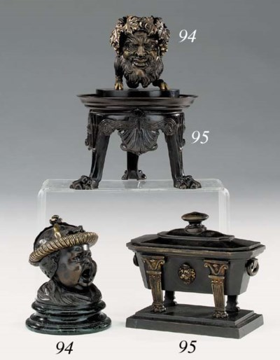 An English bronze ink stand, e