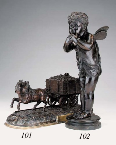 A French bronze figure of a pu