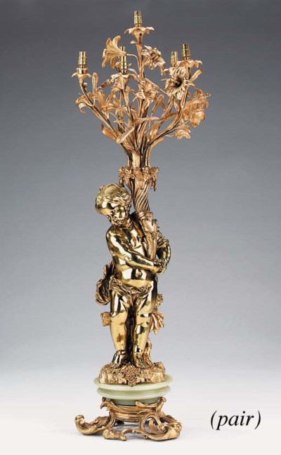 A pair of gilt bronze and onyx