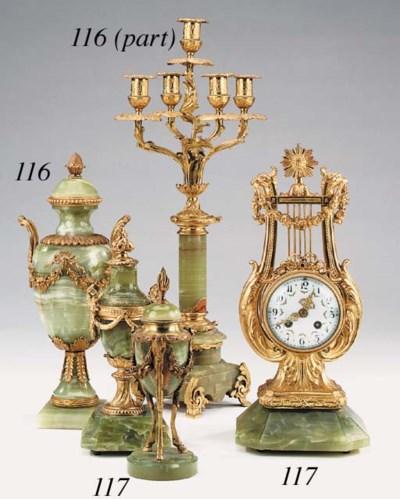 A gilt metal and onyx mounted