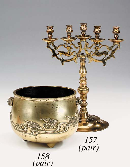 A pair of Continental brass fi