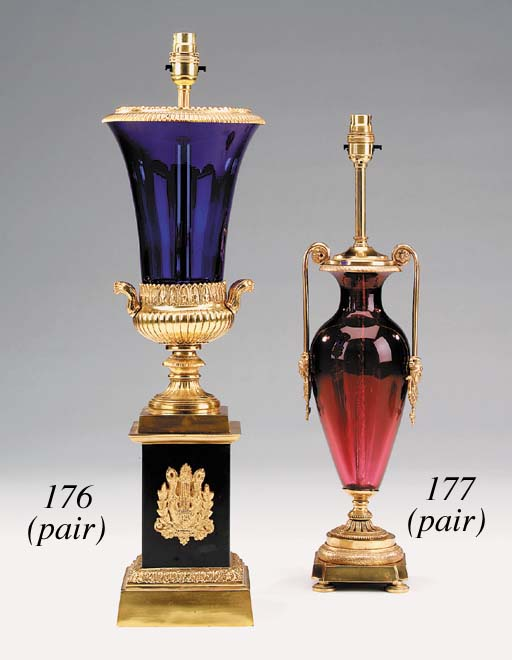 A pair of gilt metal mounted r