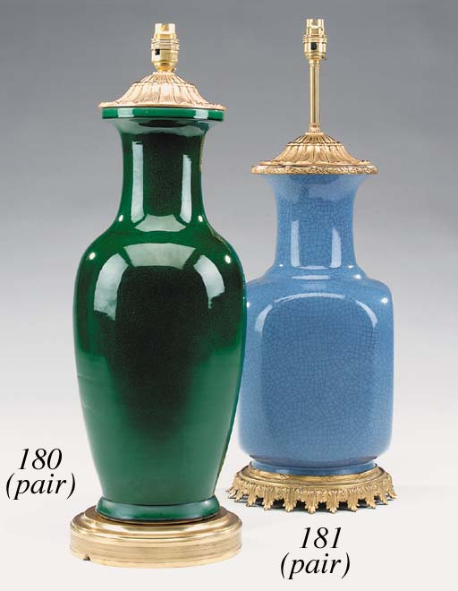 A pair of green crackle-glazed