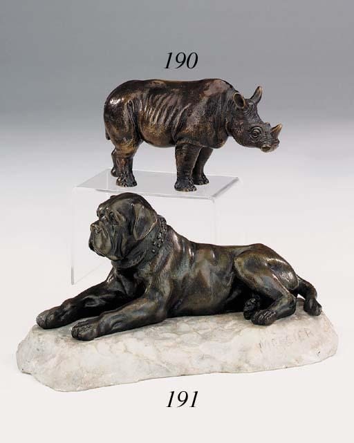 A bronze model of a rhinoceros