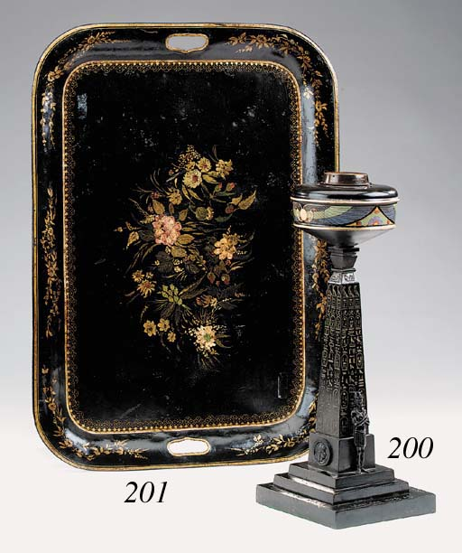 A Victorian bronze table oil l