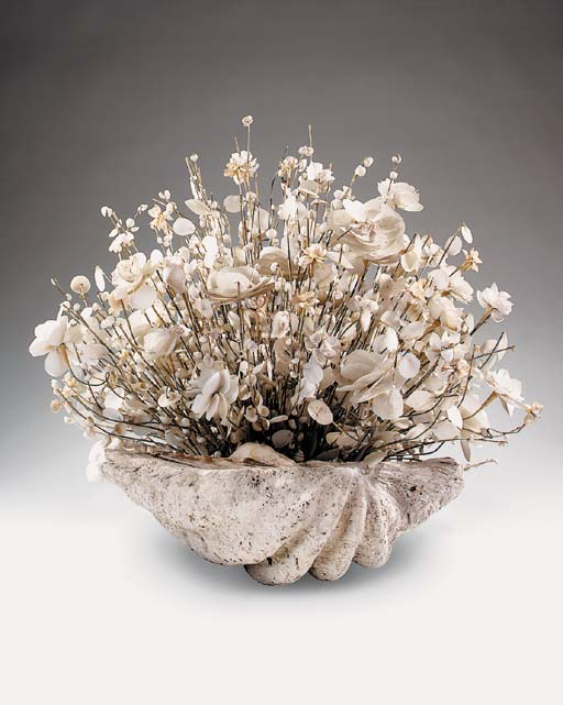 A large shell work floral bouq
