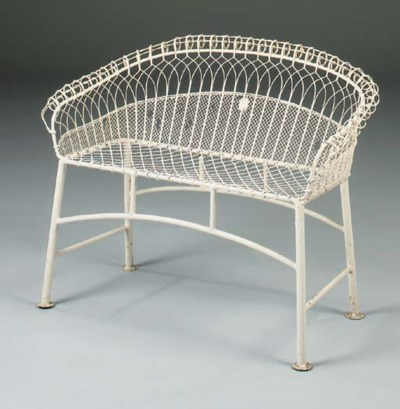 A Victorian painted wirework g