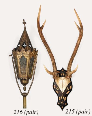 A pair of antler wall trophies