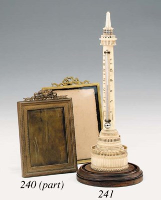 A Victorian ivory thermometer,