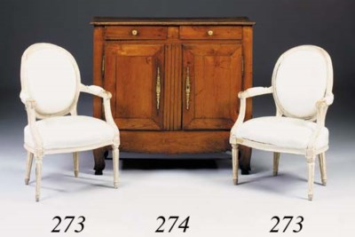 A pair of white-painted oak fa