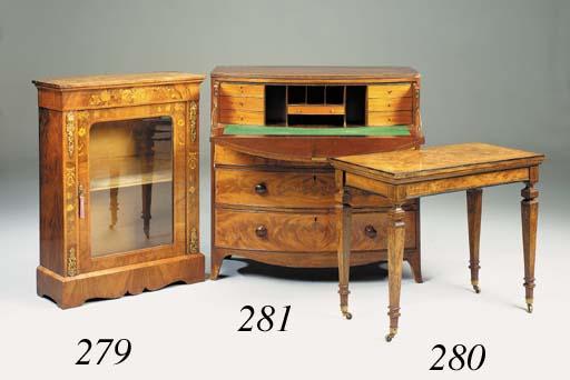 A Victorian walnut marquetry a