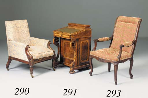 A French walnut open armchair,