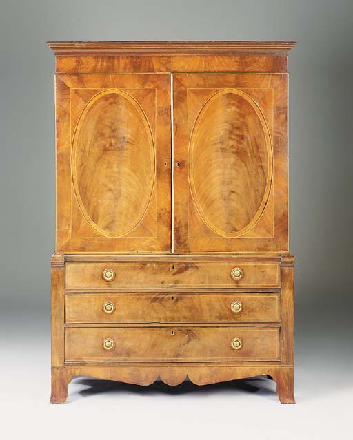 A mahogany linen press, late 1