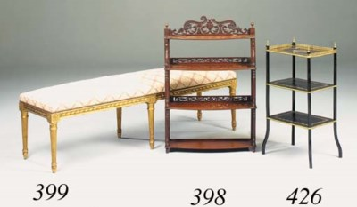 A French giltwood long stool,