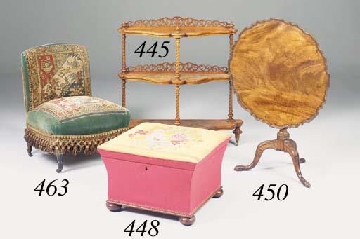 A Victorian burr-walnut three-