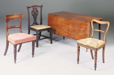 Three mahogany dining chairs,