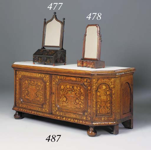 A red japanned and gilt decora