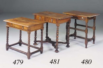 A walnut side table, late 17th