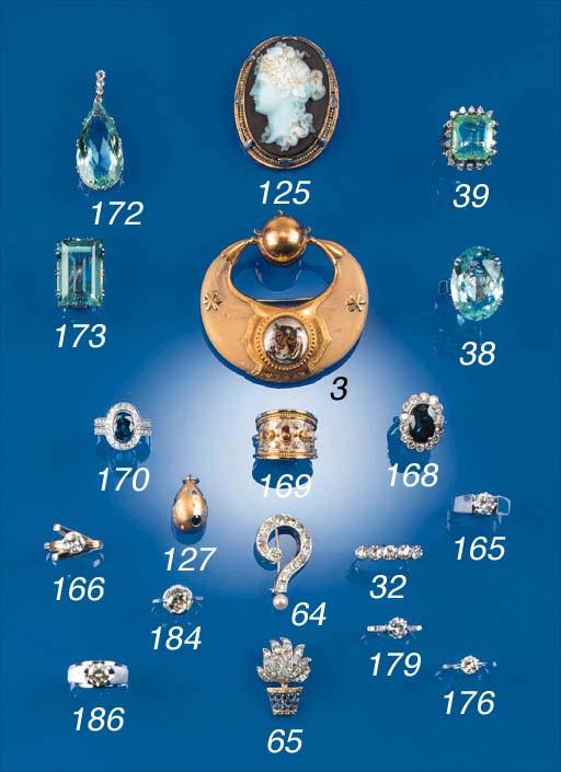 A diamond and gem two colour e
