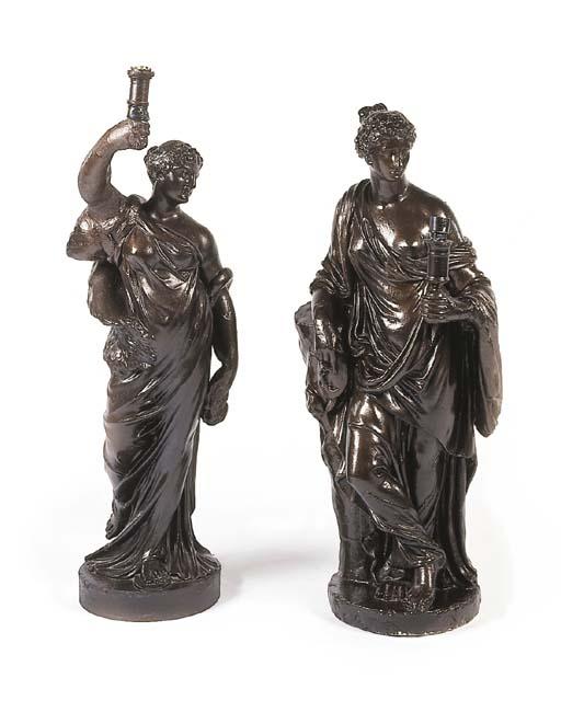 A Regency style bronzed plaste
