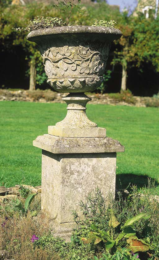 A reconstituted stone campana
