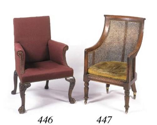 A walnut framed armchair