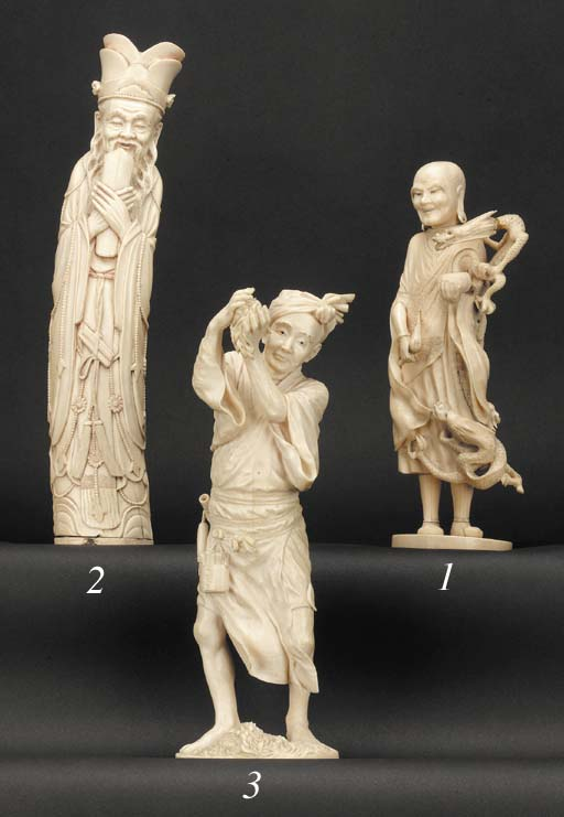 A Chinese ivory figure of a sc