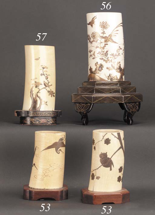A pair of ivory and lacquer tu