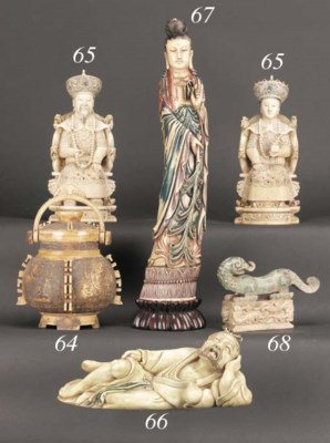 A painted ivory figure of Guan