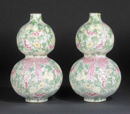 A pair of enamel double-gourd