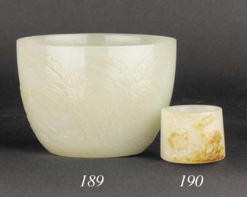 A pale celadon jade cup 19th C