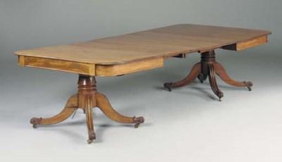 A late Regency mahogany twin p