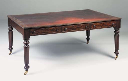 A mahogany library table, 20th