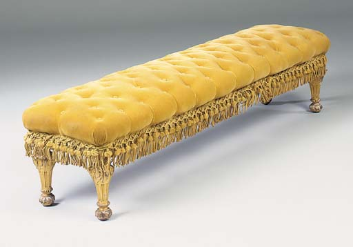 A giltwood window seat, late 1