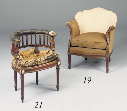 A mahogany tub armchair, late