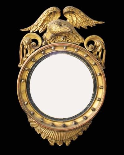 A gilt convex mirror, 19th cen