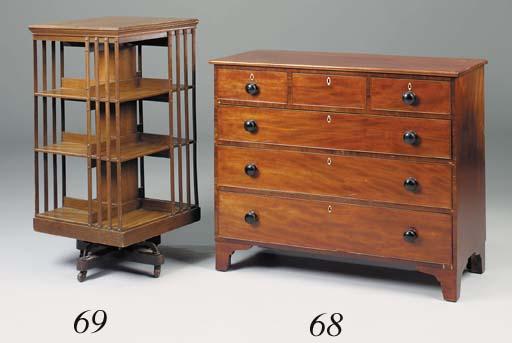 An oak revolving bookcase, ear