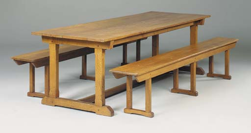 An oak refectory table, early