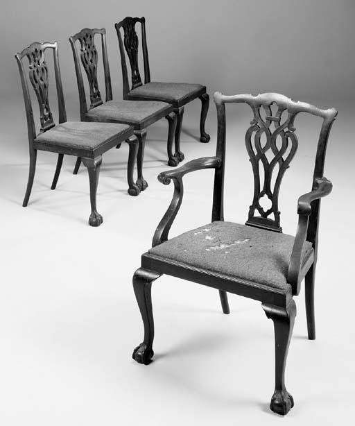 A set of six mahogany dining c