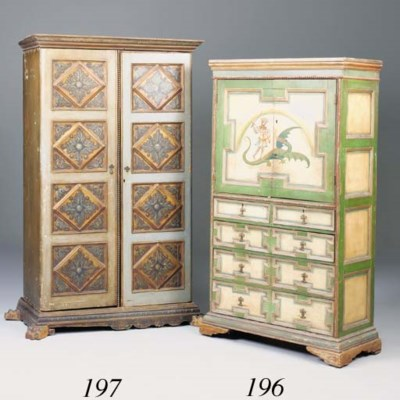 A polychrome painted wardrobe,