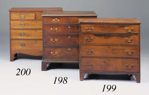 A mahogany and pine chest, ear