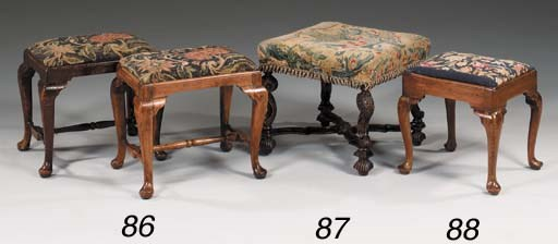 A walnut stool, early 18th cen