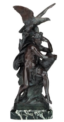 A French bronze group of a man