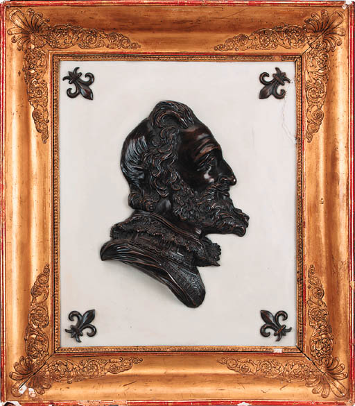 A French bronze relief bust of